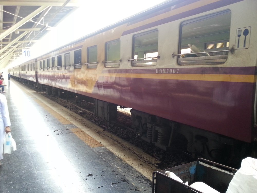 The 13.45 train to Chiang Mai is a Rapid service on an older style of train